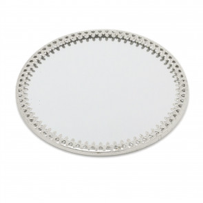 10cm Decorative Mirror Glass Display Plate | Mirrored Candle Tray | Silver Glass Coaster - Round