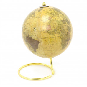 Desktop Gold World Globe On Stand | Decorative World Map Rotating Earth Ornament - 21cm