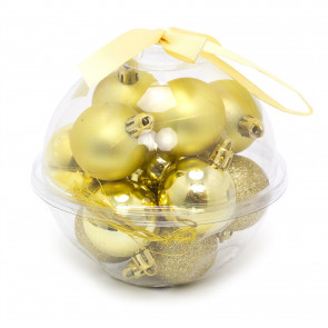 14 Piece Gold Mini Christmas Tree Bauble Box   Xmas Hanging Balls Christmas Tree Ornaments Decorations   Set Of Baubles