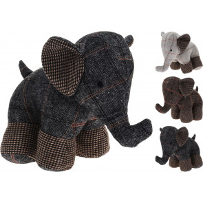 Textured Tartan Fabric Elephant Decorative Animal Novelty Doorstop - Colour Varies