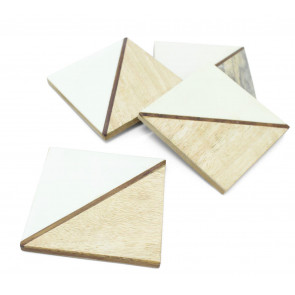 Elegant Set of 4 Double Tone Wooden Coasters For Drinks Cup Mug Table Mats ~ White