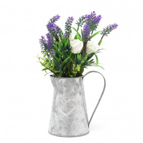 Artificial Ivory Rose And Lavendar In Metal Heart Jug Floral Arrangement Display