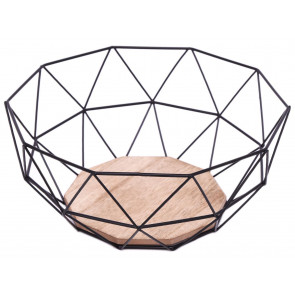 Geometric Design Black Wire Fruit Bread Basket Bowl With Wooden Base