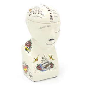 Ceramic Tattoo Phrenology Head Bust Ornament Storage Jar Pot - Novelty Phrenology Storage Head