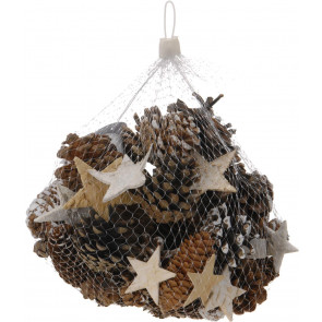 Set of Festive Rustic Decorative Pine Cones with Bark Stars And Twigs - 300g