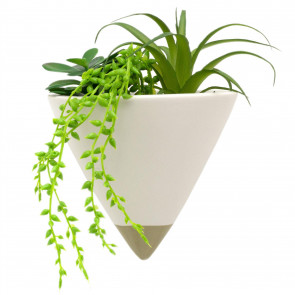 Artificial Succulents In Cone Wall Planter | Faux Plant And Two Tone Ceramic Planter | Fake House Plants Home Decor