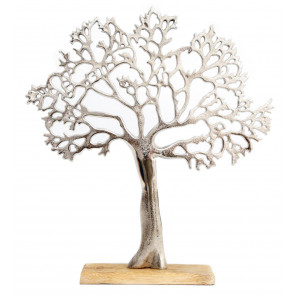 Silver Metal Tree Decorative Ornament On Wooden Base - Large