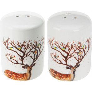 Beautiful Ceramic Reindeer Salt and Pepper Shakers Cruet Set
