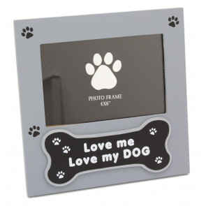 Delightful Grey Photo Picture Frame For Dog Lovers - Picture Frame With Quote 'Love Me Love My Dog'