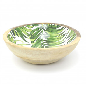 Wooden Bowl 20cm Decorative Enamelled Leaf Design Mango Wood Display Bowl - Ornamental Dish