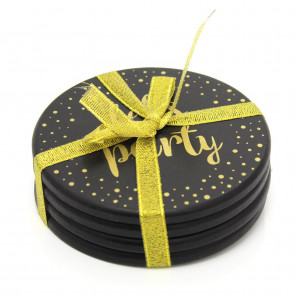 Gorgeous Set Of 4 Black And Gold Round Drinks Coasters ~ Cup Mug Table Mats