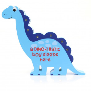 Children's Wooden Dinosaur Decorative LED Bedroom Table Light ~ Blue