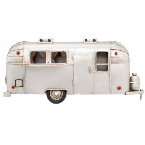 38cm Retro Camper Caravan Wall Mounted Tin Model | Vintage Metal American Airstream Trailer Hanging Decoration | Home Office Wall Art