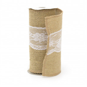 Jute And Lace Vintage Chair Bows | Hessian Chair Sashes For Wedding | Rustic Wedding Decorations