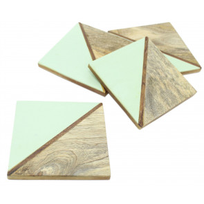Elegant Set of 4 Double Tone Wooden Coasters For Drinks Cup Mug Table Mats ~ Green