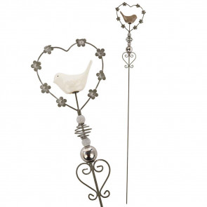 Ornamental Silver Metal Garden Patio Stake ~ Heart And Bird Outdoor Decoration - Colour Varies One Supplied