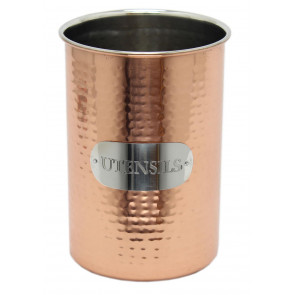 Sturdy Hammered Metal Copper Kitchen Utensil Holder
