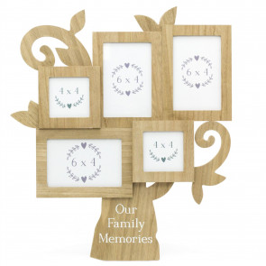 Beautiful Tree Of Life Photo Frame | Wall Mounted Family Tree Multi Picture Frame | 5 Aperture Collage Photo Frames
