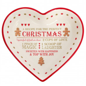 Festive Gingerbread Christmas Ceramic Heart Snack Dish ~ Xmas Nibbles bowl 23 x 21cm