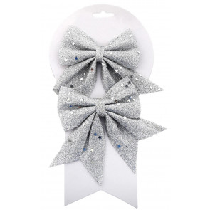 Pack of 2 Silver Glitter Present Bow Decorations - Christmas Tree Bows