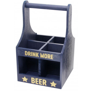 Top Dad Wooden Beer Bottle Crate Drinks Carrier with Handle ~ Drink More Beer