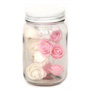 Stunning Led Lights & Roses Decorative Glass Mason Jar - Pink And White