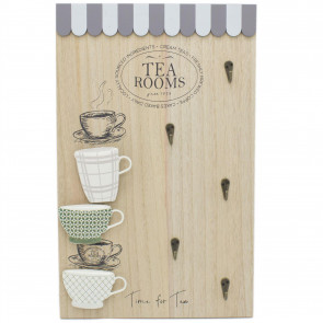 Kitchen Cafe Tea Coffee Shop Hanging Mug Storage Rack | 48x30cm Wall Mounted Tea Cup Coffee Mug Tree Hooks ~ Tea Rooms