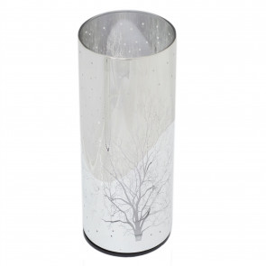 20cm Glass Cylinder LED Woodland Lamp | Battery Operated Silver Tree Light | Flickering Night Light With Timer