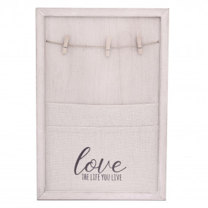 Hanging White Washed Canvas Peg Memo Note Holder Memories Board