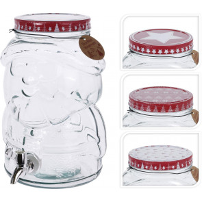 Father Christmas Santa 4 Litre Glass Drinks Dispenser