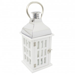 White Wooden Candle Lantern | 39cm Hurricane Lantern Candle Holders for Home Garden Patio - Tealight Candle Holder With Handle